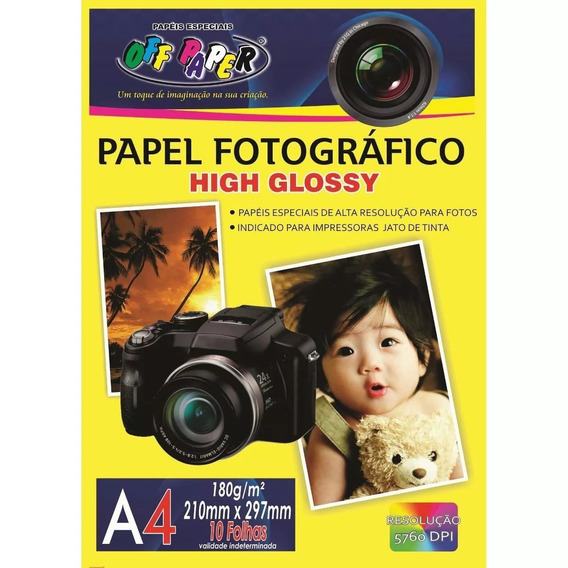 Papel Fotográfico 180g A4 High Glossy C/ 10 Folhas Off Paper