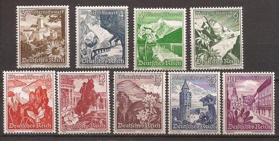 Alemania 1938 Serie Lugares Flores Austria 9 Sellos Mint 209