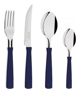 Juego 24 Cubiertos Tramontina New Kolor Hoja Acero Inoxidable Mango Plástico Set Cuchillos Tenedores Cucharas Azul Negro