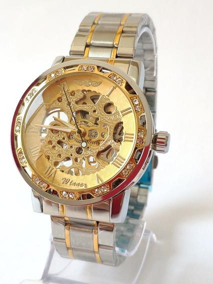 Relógio Automático Modelo Skeleton Original Winner 3atm