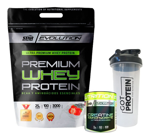 Whey Protein 3kg + Creatina 300 Grs + Shaker Star Nutrition