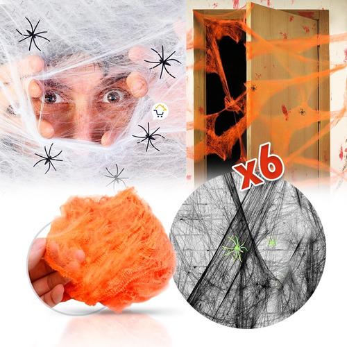 Telaraña Decorativa X6 Arañas Fiesta Disfraz Halloween 4016