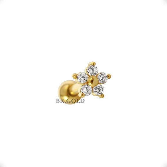 Piercing P/ Orelha, Cartilagem Florzinha Folheada A Ouro 18k