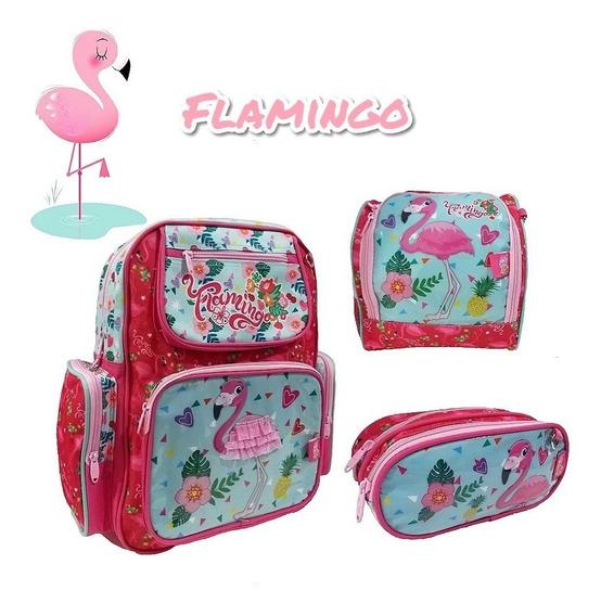 Kit Mochila Escolar Infantil Flamingo Costas Chenson