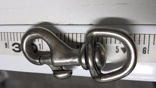 Mosquetão De Latão Niquelado Polido - P (45mm) - Trava Seg.