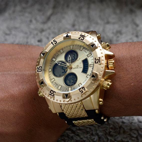Relógio Masculino Grande Dourado