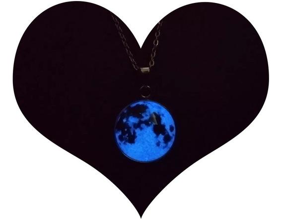 Collar Luna Llena Brilla Oscuridad Luminoso Acero Inox Moon3