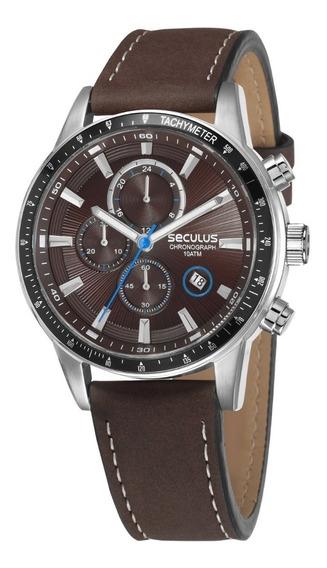 Relógio Seculus Masculino Prata,cronógrafo,cour 23649gpsvcc2