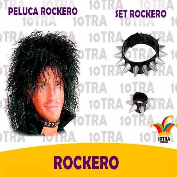 Disfraz Rockero Hombre Peluca Pelo Halloween Fiesta