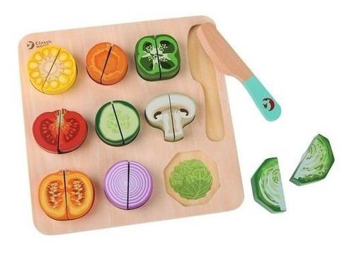 Frutas Vegetales Puzzle Cortar Abrojo Madera Classic World