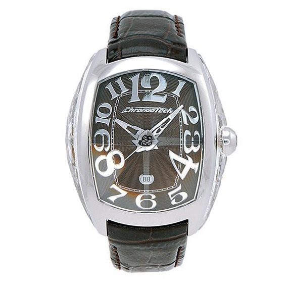 Relógio De Pulso Chronotech Prisma Design - Aço/couro Marrom
