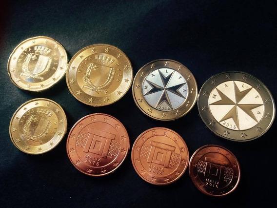 Malta, Serie Completa Euro, 8 Monedas, 2016. Brillante Unc