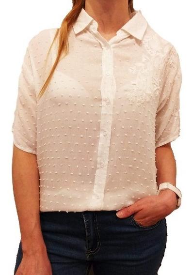 Camisa Bordada Mujer Importada Fibrana Manga Corta Canutillo