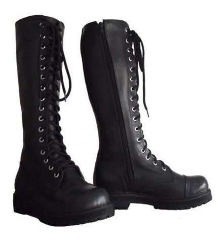 Coturno Vilela Boots Moto Rock Gótico 100% Couro Cano Alto