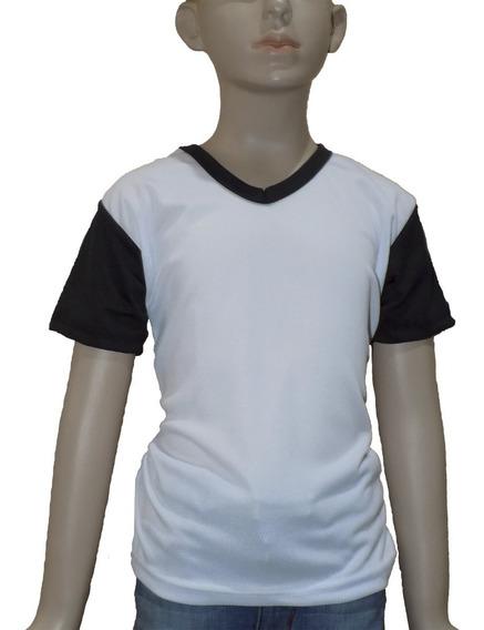 Playera Para Sublimar Dry Fit Blanca Negra Infantil Cuello V