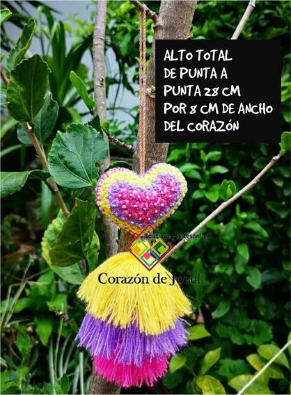12 Corazones Bordados A Mano De Florecitas/artesanales