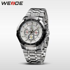 Relógio Weide Masculino De Pulso Prata Aço Inox Importado