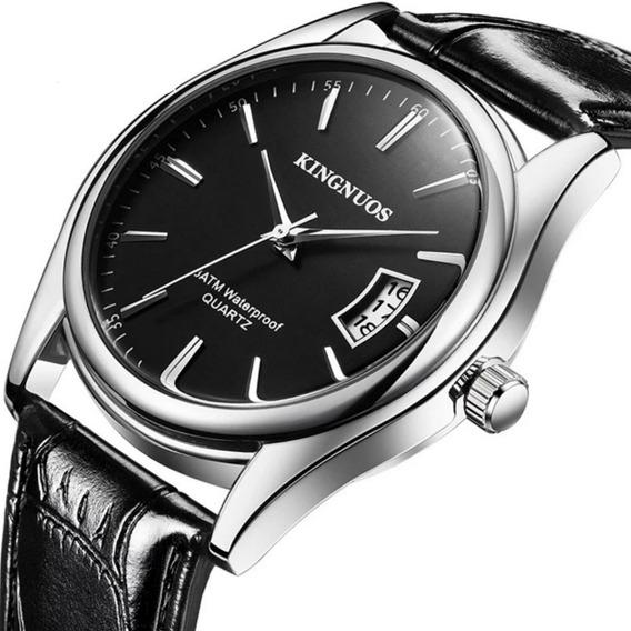 Relógio Masculino Prata Pulseira Couro Preto Calendário Fino