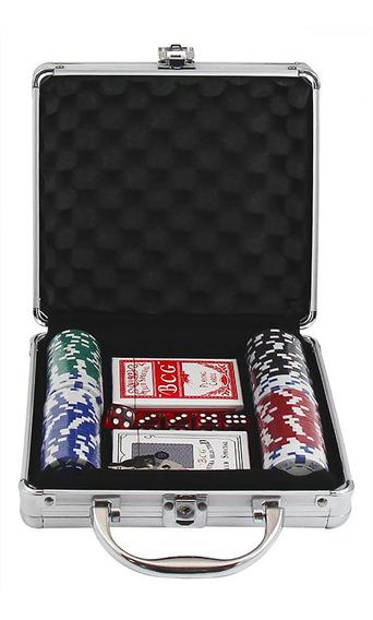 Maleta Kit Jogo Poker 100 Fichas Oficiais, Baralho, Dados