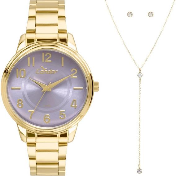 Relógio Condor Feminino Co2035kuu/k4g Kit Colar E Brincos