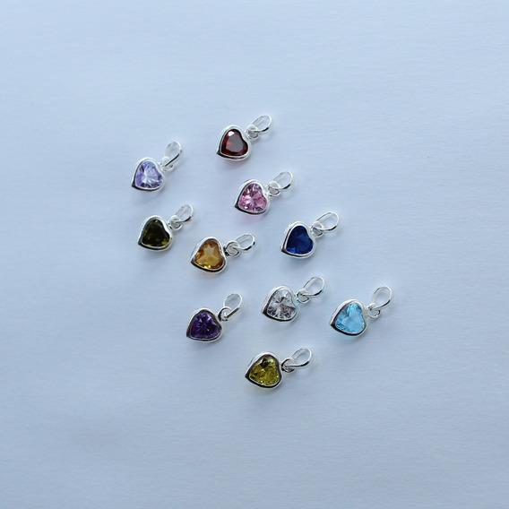 Kit Atacado 12 Pingentes Com Pedras Coração Em Prata 925