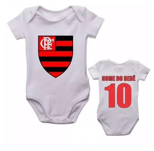 Kit 5 Body Infantil Flamengo Futebol Personalizado Com Nome