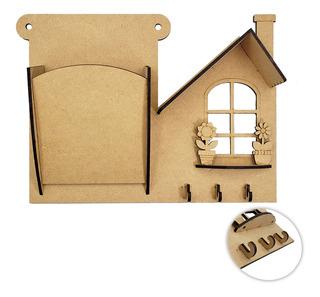 Casa Porta Chaves E Porta Cartas Mdf Crú Utilidade Enfeite