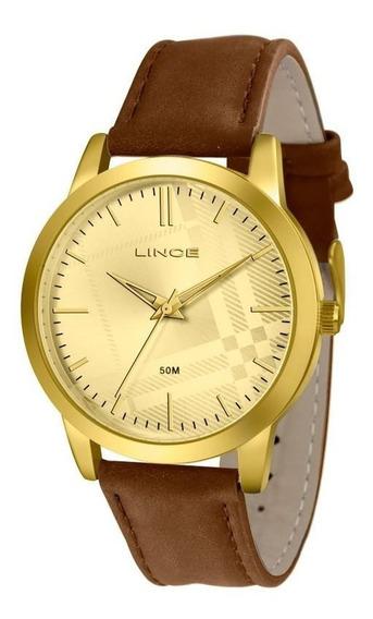 Relógio Lince Couro Marrom Caixa Dourada Lrc4397l