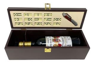 Caja De Madera Para Botella De Vino + Sacacorchos Y Domino