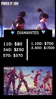 110 Diamantes Free Fire