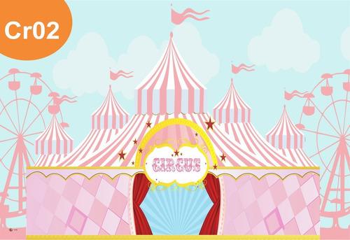 Painel Lona Circo Rosa Menina Garota Festa Aniversário