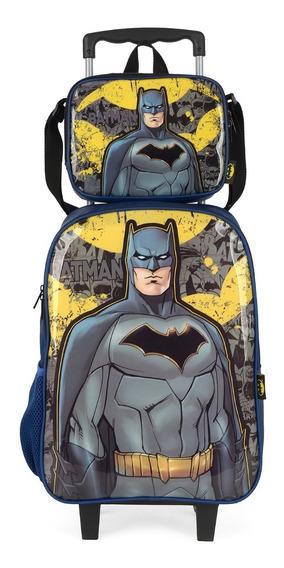 Kit Mochila Rodinha + Lancheira Batman Luxcel