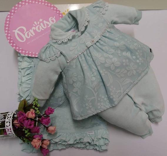 Saida Maternidade Paraiso Bebê Menina Plush Macacao Ref 7969