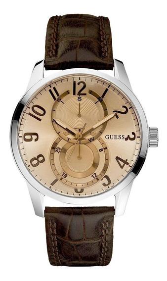Relógio De Pulso Guess 92424 Couro Marrom Feminino Original