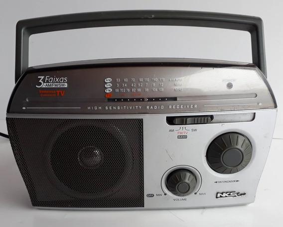 Rádio Antigo Nks Transistorizado 3 Faixas Portátil