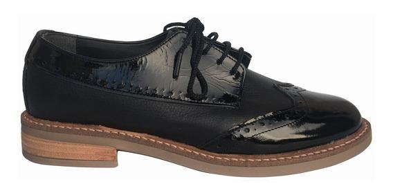 Zapato Mocasín Acordonado Mujer Cuero Base Goma Bte
