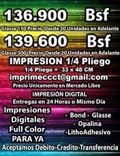 Imprenta Digital Glasse 150y300 1/4pliego Entrega Mismo Dia