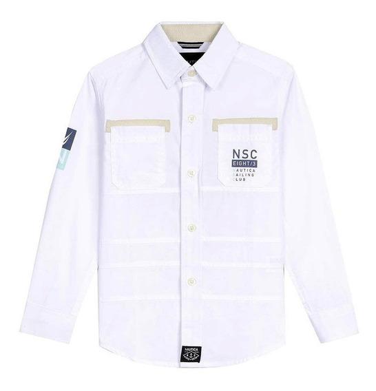 Camisa Nautica Nsc Eight/3 Sailing Club 83 Bordada Blanca