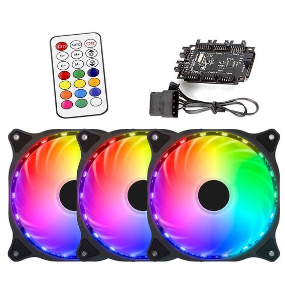 Kit 3 Fan Cooler Led Rgb 12cm + Fita Led + Controladora Pc