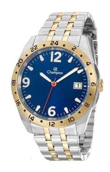 Relógio Champion Prata E Dourado Fundo Azul Ca31220a