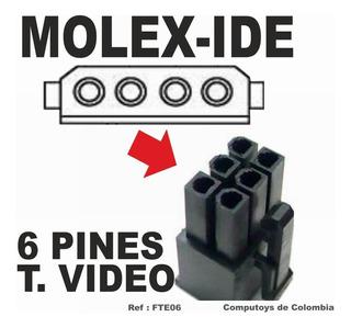 Zfte06 Adaptador De Molex X2 A 6 Pines T. Video Computoys