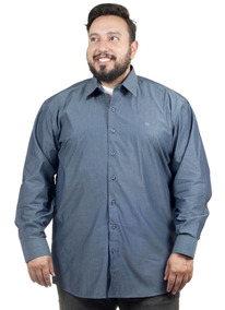 Camisa Plus Size Bigshirts Manga Longa Filafil - Azul Jeans