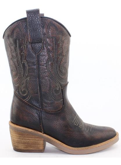 Bota Texana Dama Mujer 100% Cuero Bulwark Moda Nuevas 884
