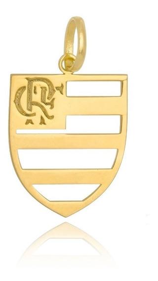 Pingente Em Prata Banho De Ouro Time Flamengo Mengão Rubro