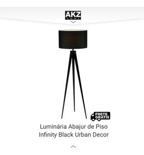 Luminária Abajur De Piso Infinity Black Urban Decor. Nordes