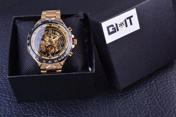 Relógio Original Forsining Aço Dourado Série Clássica