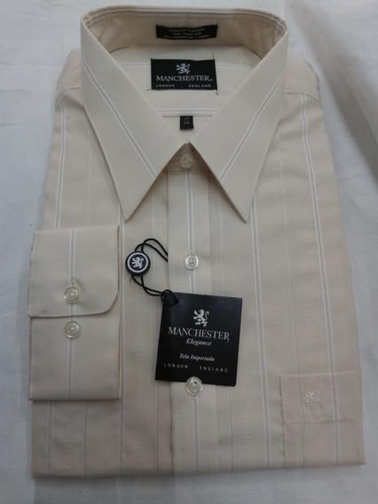 Camisa Manchester Cuello 17 Talla 4 Color Beige Rayada