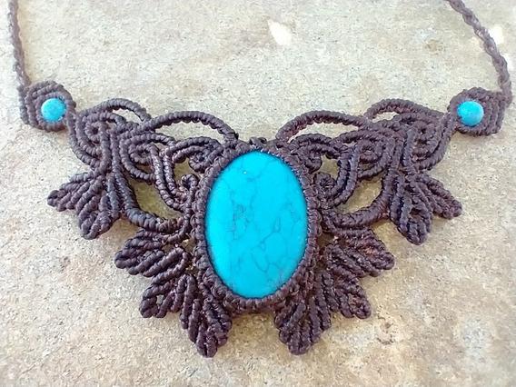 Gargantilha Macramê Com Turquesa (howlita Azul)