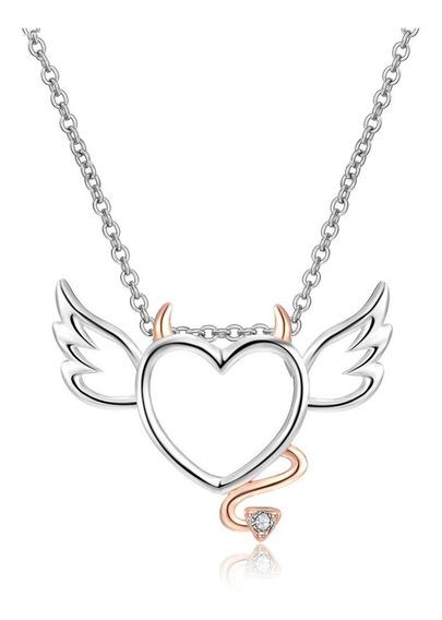 Collar Corazón Ángel Diablillo De Cobre Con Zirconita Regalo