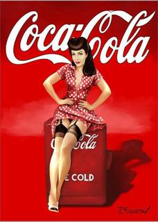 Pôster Retrô Coca Cola Pin Up Papel Fotográfico A3 P1151